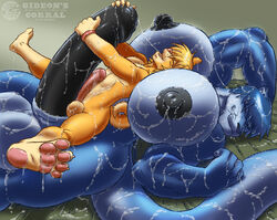 anthro balls big_balls big_blue_(gideon) big_breasts big_penis breasts canine couple cum cum_everywhere dickgirl erection excessive_cum feline frottage fur furry gideon huge_breasts huge_cock hyper hyper_balls hyper_breasts hyper_penis intersex invalid_tag love male messy muscular_intersex nipples panther penis sex smile sunny_(gideon)