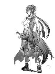 breasts clothes female female_only footwear gauntlets greyscale hair human long_hair looking_at_viewer monochrome open_clothes prince_of_persia rule_63 simple_background solo standing sword weapon white_background