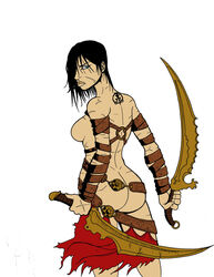 1girl artist_request ass back bare_shoulders big_lips black_hair blue_eyes breasts color colored dark_hair dat_ass dual_wielding female female_only hair hair_over_one_eye holding holding_sword human large_breasts lips long_hair looking_back not_furry prince_of_persia round_ears rule_63 scar sideboob solo standing sword tattoo topless underhand_grip weapon white_background