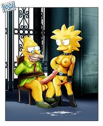 abraham_simpson bound breasts color cum famous-toons-facial female human lisa_simpson male nipples nude penis standing tagme the_simpsons vulva