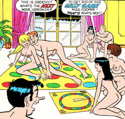 4girls archie_andrews archie_comics ass betty_and_veronica betty_cooper black_hair blonde_hair board_game breasts brown_hair cactus34 game jughead_jones midge_klump moose_mason nude orgy penis puberty pubic_hair pussy smile twister veronica_lodge