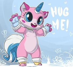 ! 2014 4_fingers :d anthro anthrofied arthropod atryl barefoot big_eyes blush butterfly cute edit english_text eyelashes feline fur gloves happy heart hi_res horn hug insects lego mammal me nipples nude open_mouth pawpads paws pussy raised_arm sharp_teeth smile standing teeth text the_lego_movie tongue unikitty