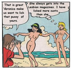 2girls archie_comics beach betty_and_veronica betty_cooper black_hair blonde_hair breasts brown_hair camera nude pussy veronica_lodge