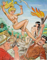 2girls archie_andrews archie_comics betty_cooper black_hair blonde_hair breasts dan_decarlo dilton_doiley female jughead_jones kick knife mace male moose_mason nipples nude reggie_mantle tied_up veronica_lodge waldo_weatherbee