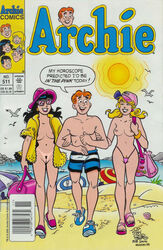 2girls archie_andrews archie_comics beach betty_and_veronica betty_cooper black_hair blonde_hair breasts nude pussy smile topless veronica_lodge wa_smith