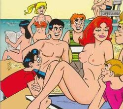 3girls alias_the_rat archie_comics beach betty_cooper black_hair blonde_hair breasts cheryl_blossom nude red_hair veronica_lodge