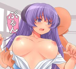 areolae blush bouncing_breasts breasts faceless female hanyuu highres higurashi_no_naku_koro_ni large_breasts long_hair nipples no_bra open_clothes open_mouth open_shirt purple_eyes purple_hair rape shirt tears