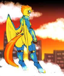 anthro armor ass avante92 big_butt clothing equine eyewear feathered_wings feathers female friendship_is_magic glasses goggles hair hi_res horse mammal multicolored_hair my_little_pony pussy smile solo spitfire_(mlp) suit two_tone_hair wings wonderbolts_(mlp)