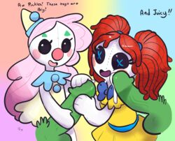 animate_inanimate clothing clown cum cum_on_cheek doll dress female green_skin group group_sex hair hat long_hair male not_furry orgy outta_sync penis pink_hair pubes red_hair rubilocks sex twintails