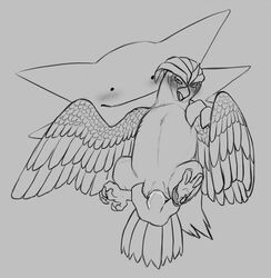 1girl ambiguous_gender animal_genitalia avian beak belly big_fingers big_hands blush claws cloaca cloaca_juice disembodied_hands ditto feathers feet female feral fingering floating from_behind ghost half-closed_eyes hand_on_shoulder haunter holding interspecies monochrome nintendo no_nipples nude pidgeotto pokémon_(species) pokemon pokemon_rgby precum pussy pussy_juice reach_around slime spirit spread_legs tail talons video_games wet wings yaroul