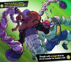 anal_insertion arms_(game) ass big_ass big_breasts breasts bulge dark_skin dat_ass female fisting insertion large_insertion male master_mummy nintendo sparrow stomach_bulge text text_box torn_clothes twintelle