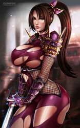 big_breasts breasts cleavage female female_only flowerxl large_breasts looking_at_viewer solo soul_calibur taki torn_clothes