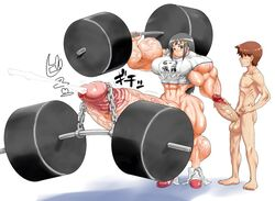 balls big_muscles censored cum cumshot dickgirl duo ejaculation erection human humanoid_penis humor hyper hyper_muscles hyper_penis intersex japan male mammal muscular muscular_intersex not_furry orgasm penis simple_background steroids unknown_artist what white_background