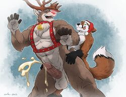 2012 abs anthro antlers ass balls bell biceps canine circumcised claws cotton cum cum_on_penis cumshot cumstring fox fur furry gay happy hat headgear horn humanoid_penis looking_at_viewer looking_back male muscles naval no_humans open_mouth orgasm pecs penetration penis plain_background red_nose reindeer rudolph rudolph_the_red-nosed_reindeer sex smile spread_legs spreading strap teeth tongue tongue_out vein veins wfa yaoi