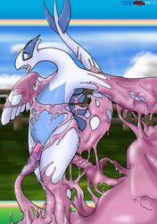 blue_eyes blush cloud ditto lugia nintendo open_mouth penis pokemon smile tentacle video_games