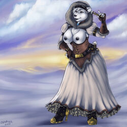 2010 bear belt big_breasts black_nipples boots breasts dress female furry gloves goggles hair high_heels hoodie nipples polar_bear short_hair solo spookable standing steampunk tail white_fur white_hair winter