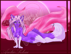 anthro arctic-sekai breasts cancer canine female fox no_humans nude piercing purple red_eyess solo tail takumi