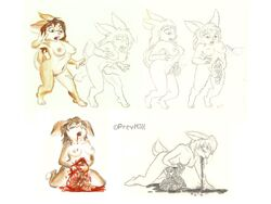 1girl all_fours anthro big_breasts blood breasts brown_hair closed_eyes disembodied_hands disembowelment drawn female fur furry guro hair hi_res intestines kneeling knife lagomorph long_hair mammal monochrome navel nipples nude open_mouth pain partially_colored preykill pussy rabbit snuff solo standing text