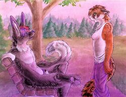 anthro bench canine canine_penis cat clothes day eye_contact feline female fur furry hypnosis interspecies looking_at_another male mammal mind_control nude outdoors penis public ru ruaidri side_view sitting standing surprised tagme