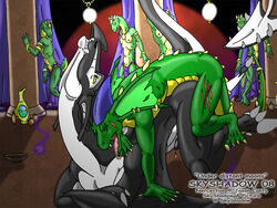 anal anal_sex audience black eyes_closed eyes_open gay green lizard loincloth looking_pleasured looking_up male open_mouth penetration penis public raised_tail scalie skyshadow tail tongue underwear wyvern yellow_eyes