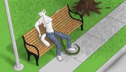 anthro arctic_fox bench breasts canine closed_eyes clothes color day exhibitionism female fur furry high_resolution holding_breath jeans nipples open_mouth outdoors park penetration public rlctntfr shadow sidewalk snake solo street tree unbuttoned vaginal_penetration
