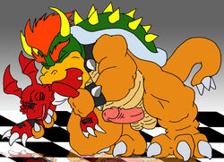 bowser crossover digimon gay glenn green_shell guilmon horns koopa lilglenndoggy male no_humans penis scalie shell spiky_shell vore