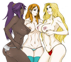 3girls aqua_eyes areola areolae arms ass back bangs bare_back bare_shoulders belly big_ass big_breasts black bleach blonde_hair blue_eyes breast_grab breasts chest cleavage curvy dark-skinned_female dark_skin eyebrows eyelashes female fingernails fingers gold_eyes hair_tie hairclip hands hands_on_breasts hands_on_chest holding_breasts huge_breasts inoue_orihime inverted_nipples large_breasts legs lips lipstick long_hair looking_at_viewer matsumoto_rangiku mouth multiple_girls nail_polish navel neck nipples orange_hair panties ponytail pubic_hair purple_eyes purple_hair shihouin_yoruichi shoulders stomach thighhighs thighs tied_hair topless very_long_hair wavy_hair white_background yellow_eyes yoruichi