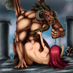 abs anal anal_sex ass_juice beastiality biceps bobblk bondage chaos_(warhammer) claws cum_in_ass cum_inside doggy_style erza_scarlet fairy_tail fangs horns huge_cock large_insertion leash long_hair magenta_hair monster monster_rape muscular mythcomplex naked nude open_mouth penetration photoshop rape red_hair sex skull slave tattoo warhammer warhammer_40k zoophilia