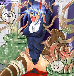 blue_hair crotch_rub erect_nipples female plant poorly_drawn pussy_juice pussy_rub sitting spread_legs tentacle tentacle_nodules tickle tickling undressing