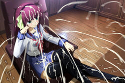 angel_beats! blue_eyess bukkake chair cum cum_covered cum_everywhere cum_on_clothes cum_on_hair cumshot ejaculation facial female fully_clothed highres nakamura_yuri photoshop purple_hair school_uniform screencap smile thighhighs yuri_(angel_beats!) zettai_ryouiki zettai_ryouiki(skirt)