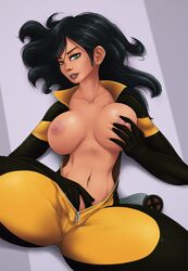 1girl areolae big_breasts bodysuit breasts female female_only female_solo impracticalart large_breasts laura_kinney looking_at_viewer marvel marvel_comics nipples solo spread_legs topless x-23 x-men