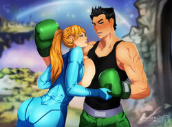 ass boxing_gloves breast_press breasts breasts_outside holding_hands huge_breasts little_mac metroid mugenillustrations nintendo ponytail punch-out!! samus_aran super_smash_bros. zero_suit