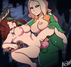 a5wagyu animated breasts dickgirl double_penetration double_penis double_vaginal female futa_on_female futanari large_breasts league_of_legends miss_fortune monster nami_(league_of_legends) nipples penis pussy sex stomach_bulge testicles vaginal_penetration