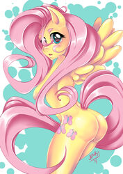 2014 abstract_background animal_ears anthro arched_back ass blue_eyes cutie_mark da-jenki equine female fluttershy_(mlp) friendship_is_magic furry horse_ears long_hair looking_at_viewer my_little_pony navel nude open_mouth pegasus smile solo standing tail very_long_hair wings yellow_fur