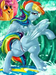anus ass blush clitoris dimwitdog equine feathers female friendship_is_magic fur heart horse mammal my_little_pony outside pegasus pony pussy rainbow_dash_(mlp) scootaloo_(mlp) surfing uncensored water wings