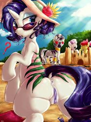 anus apple_bloom_(mlp) ass clitoris dimwitdog equine eyewear female friendship_is_magic fur glasses hair hat heart horn horse mammal my_little_pony outside pony purple_pussy pussy rarity_(mlp) sand_castle sculpture seaside sun_burn sweetie_belle_(mlp) unicorn zebra zecora_(mlp)