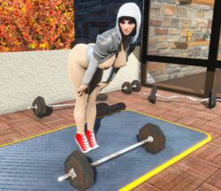 3d black_hair breasts clothing exposed_breasts fallout_4 female female female_only hoodie human leaning_forward leotard pose shoes short_hair thicc_doll weights wm_doll
