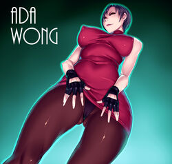 ada_wong black_hair capcom dress erect_nipples female fingerless_gloves gloves panties pantyhose resident_evil sawao short_hair solo