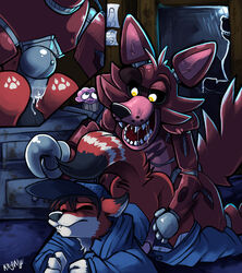 2014 anal anal_sex animatronic anthro ass balls blush canine closed_eyes clothing cupcake fangs five_nights_at_freddy's fox foxy_(fnaf) gay hat hook kayla-na male mammal metal open_mouth pawprints penetration penis saliva uniform video_games yellow_eyes
