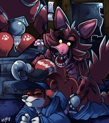 2014 anal anal_sex animatronic anthro ass balls canine closed_eyes clothing cupcake fangs five_nights_at_freddy's fox foxy_(fnaf) gay hat hook kayla-na male mammal metal open_mouth penetration penis saliva uniform video_games yellow_eyes
