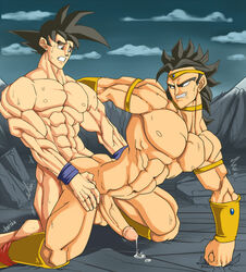 2boys abs biceps big_penis bodybuilder broly cum dragon_ball_z gay hotcha huge_penis male male_only multiple_males muscles pecs penis son_goku yaoi