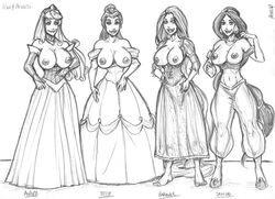 4girls aladdin arab arabian areola aurora beauty_and_the_beast belle breasts busty cleavage disney_princesses dress erect_nipples hsefra jasmine nipples rapunzel sleeping_beauty tagme tangled voluptuous