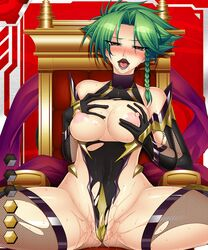 blush breast_grab fishnets green_hair kagami lilith-soft nipples pussy_juice tagme taimanin_asagi_battle_arena torn_clothes