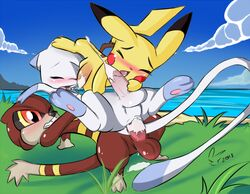 2013 anal anal_sex blush cum cum_in_ass cum_inside furry_only gay group group_sex male mew nintendo penetration penis pikachu pokemon sex signature threesome video_games watchog white_crest