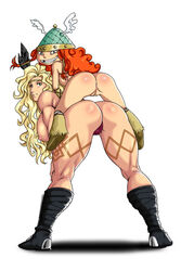 all_fours amazon amazon_(dragon's_crown) anus artist_request ass barbara barbara_(rayman) blonde_hair circlet crossover dogpile dragon's_crown female hair happy headgear helmet huge_breasts legs long_hair looking_back muscle muscular_female nude on_top orange_hair panties pussy rayman rayman_legends red_hair sex sideboob simple_background smile tattoo thick_thighs tied_hair twintails ubisoft vagina vanillaware viking yuri