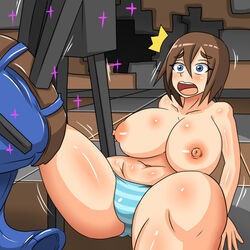 assisted_exposure big_breasts blue_eyes breasts brown_hair clothing dr.bug embarrassed enderman enf fat female hair human mammal minecraft panties spread_legs spreading striped_panties surprise topless underwear undressing video_games