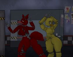 2014 animatronic anthro anthrofied ass avian bird breasts buttcable canine chica_fnaf chicken duo eyelashes fan fangs female fishy-pony five_nights_at_freddy's fox foxy_fnaf fur hi_res hook machine mammal mechanical open_mouth paws presenting presenting_hindquarters pussy pussy_juice rule_63 screw sharp_teeth side_boobs teeth tongue tongue_out tuft wet