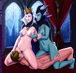 2girls areolae bloodfart blue_skin breast_grab breasts cape cowgirl_position crown cunnilingus disney female grimhilde hood horns large_breasts male maleficent navel nipples oral penis pubic_hair pussy sex threesome uncensored vaginal_penetration