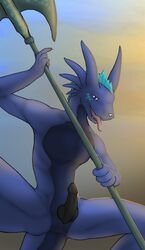 anthro anus dragon erection knot looking_at_viewer male penis scalie tenecayr tenecayr_(artist) tongue weapon