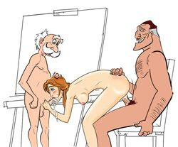 age_difference archimedes_porter bent_over bigdaddy blowjob clayton disney double_penetration female from_behind human incest jane_porter male multiple_males tarzan uncensored